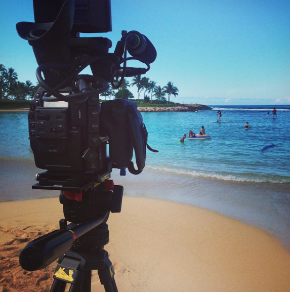 Filming in Oahu Hawaii on the beach in front of the Aulani, a Disney Resort & Spa in Ko Olina.
