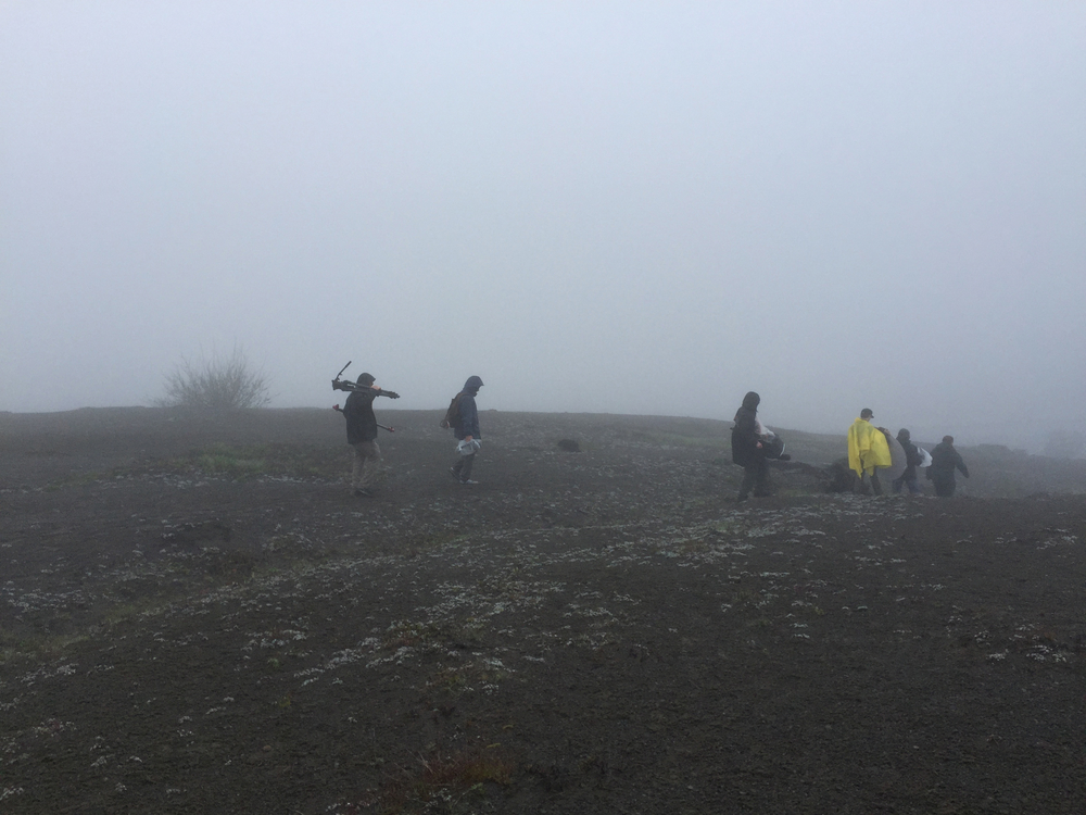 The crew working under extreme conditions brought us all closer together. This is filming in thick fog on top of an active volcano.