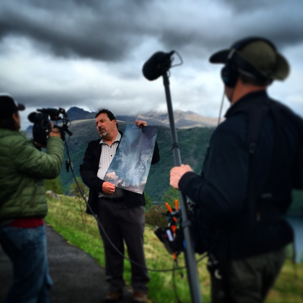 Filming at Mt. St. Helens with DP Heimo Ritzinger and Director Chris Kasick.