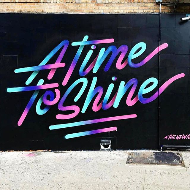 Time to Shine indeed! ✨✨✨✨ Check out the inspiring new mural from @itsaliving for @newallen_ny @babybrasa on Allen Street. #LES #nycstreetart #nyc🗽