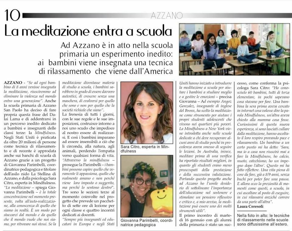 Mindfulness Scuola Bergamo - Articolo sul giornale di Azzano S. Paolo