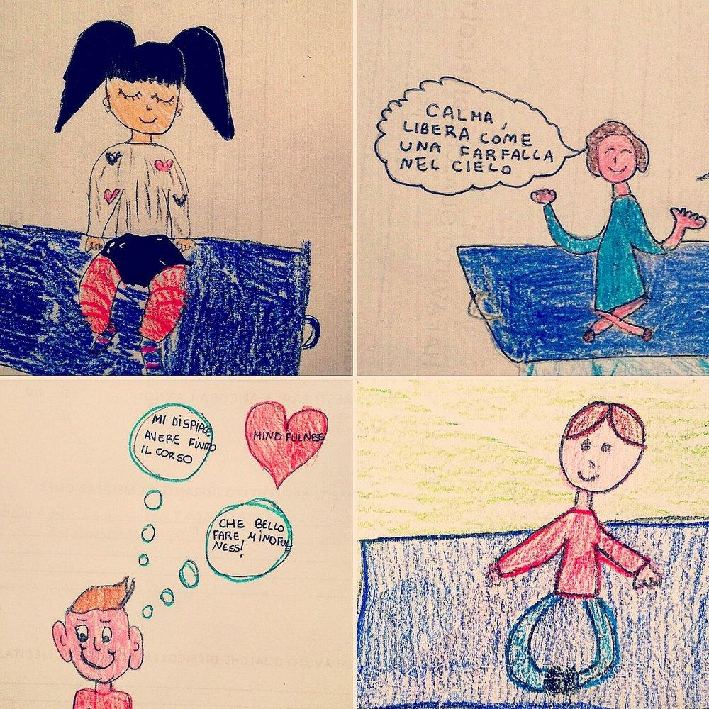 Mindfulness Scuola primaria di Azzano, Bergamo - Disegni dei bambini
