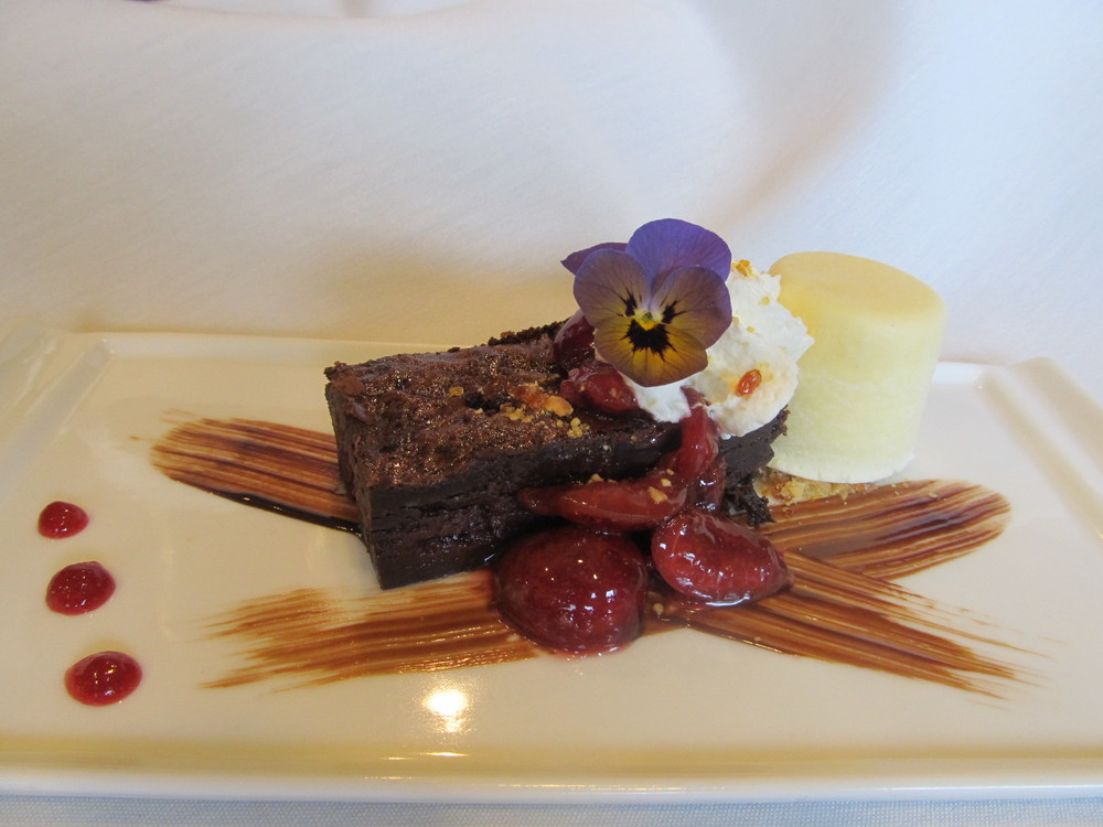 Chocoate Brownie, Local Sweet Cherry Compote and Cinammon Ice cream.JPG