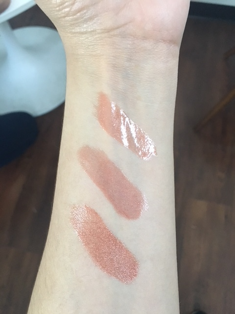 Top: Fenty Beauty Gloss Bomb, Middle: Revlon Rosy Future, Bottom: Colourpop My Jam