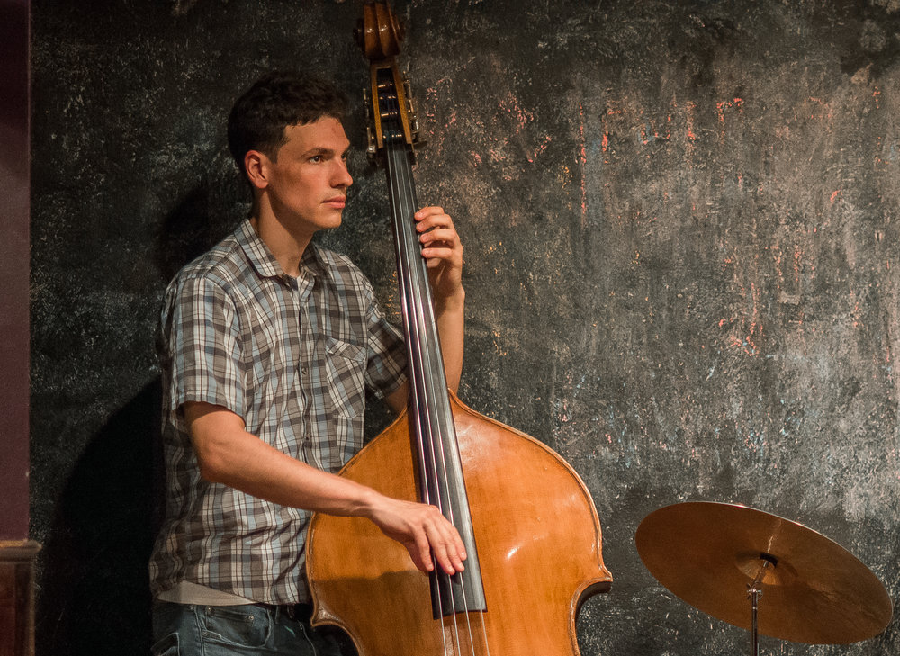 Kyle Colina on bass. While his spoken lines are few, his bass lines riddle the play through.