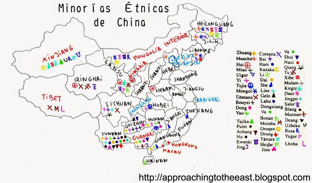 Mapa de minorías chinas. Fuente:http://approachingtotheeast.blogspot.com.es