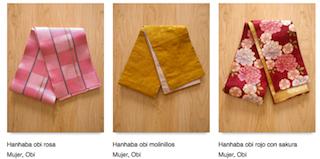 Ejemplos de Obi disponibles en Minna no kimono