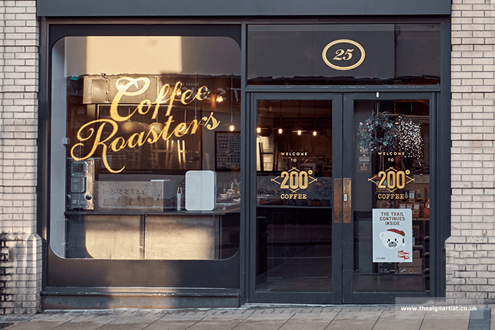 Gold Leaf Window sign for 200 degrees Coffee, Sheffield