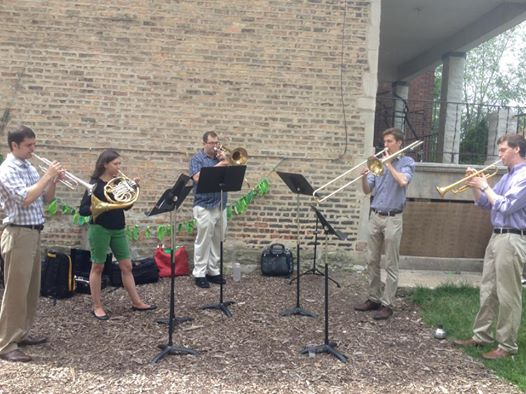 CSW brass players perform quintet arrangements at the Winthrop Harmony Arts Garden.