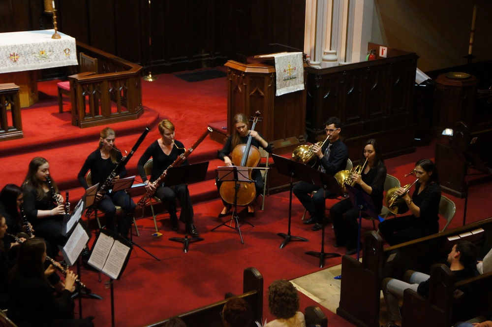 Concert photo of CSW Musicians at the November 2015 performance of Autumn Winds: Works for Woodwind and Brass Ensembles.