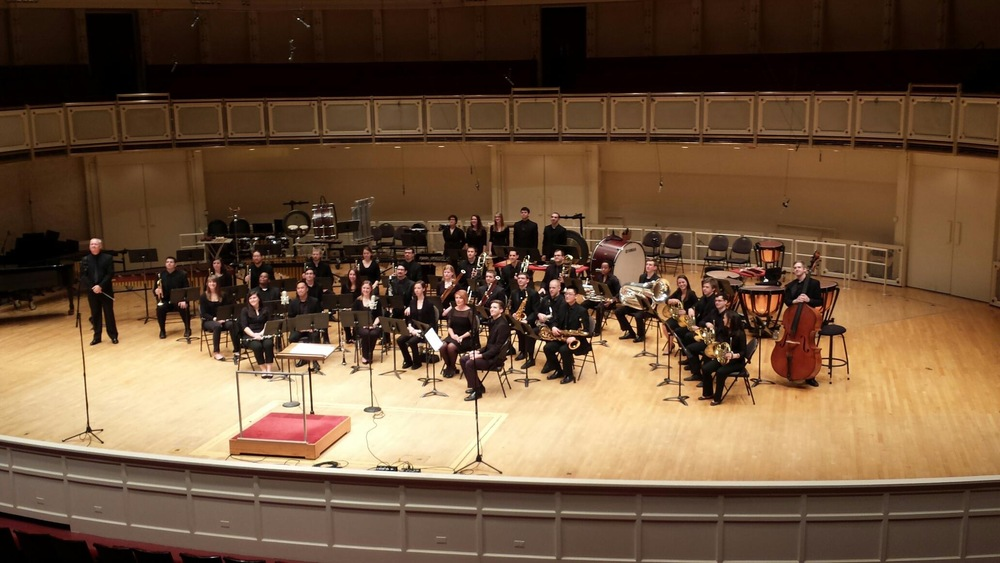 Concert photo of CSW Musicians at the April 2015 performance at Orchestra Hall at Chicago's Symphony Center as a featured ensemble with USBand's Concert Series.