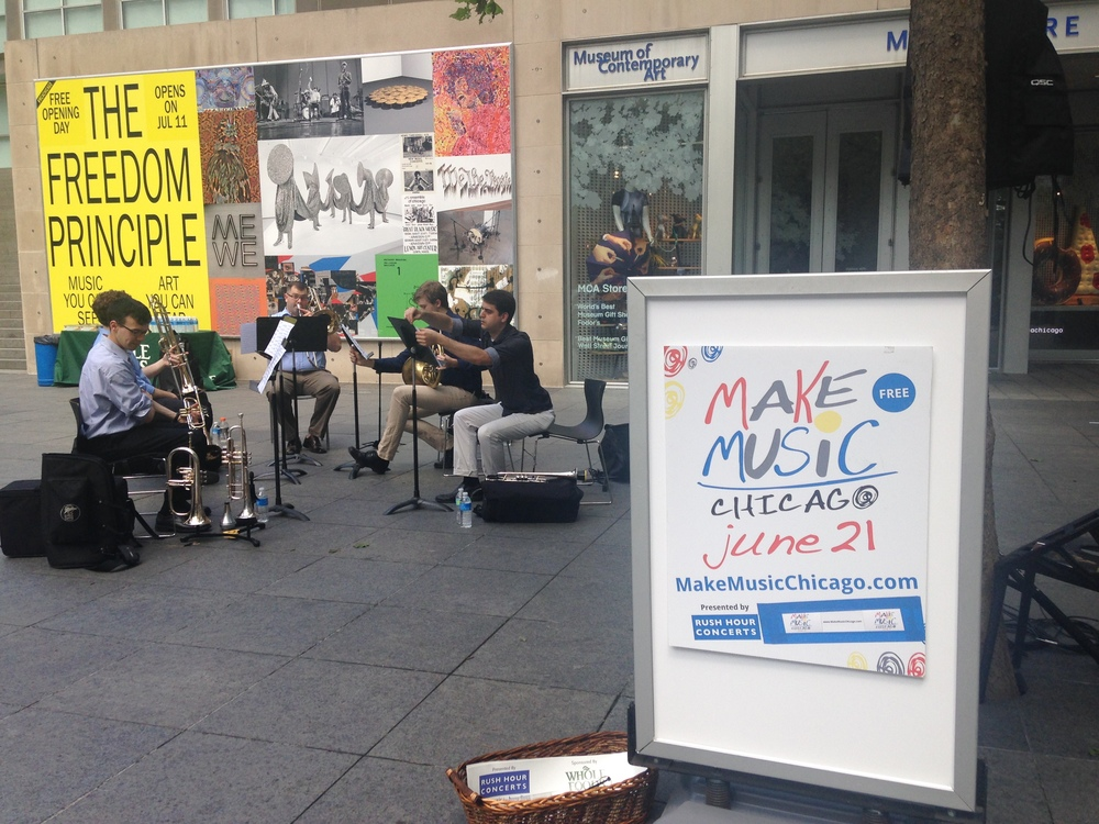 CSW brass musicians performing quintet arrangements outside the Museum of Contemporary Art as part of Make Music Chicago Day on June 26, 2015.