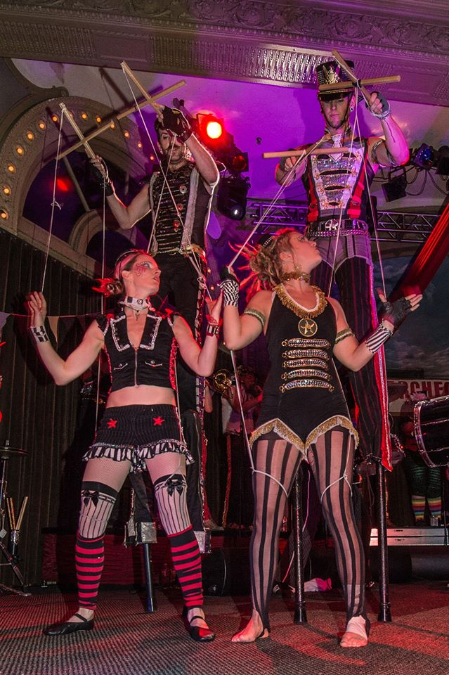 Amy, Sid, Aaron and I performing our new Marionette piece at the 10th Anniversary Show. Photo by Geoffrey Squire.