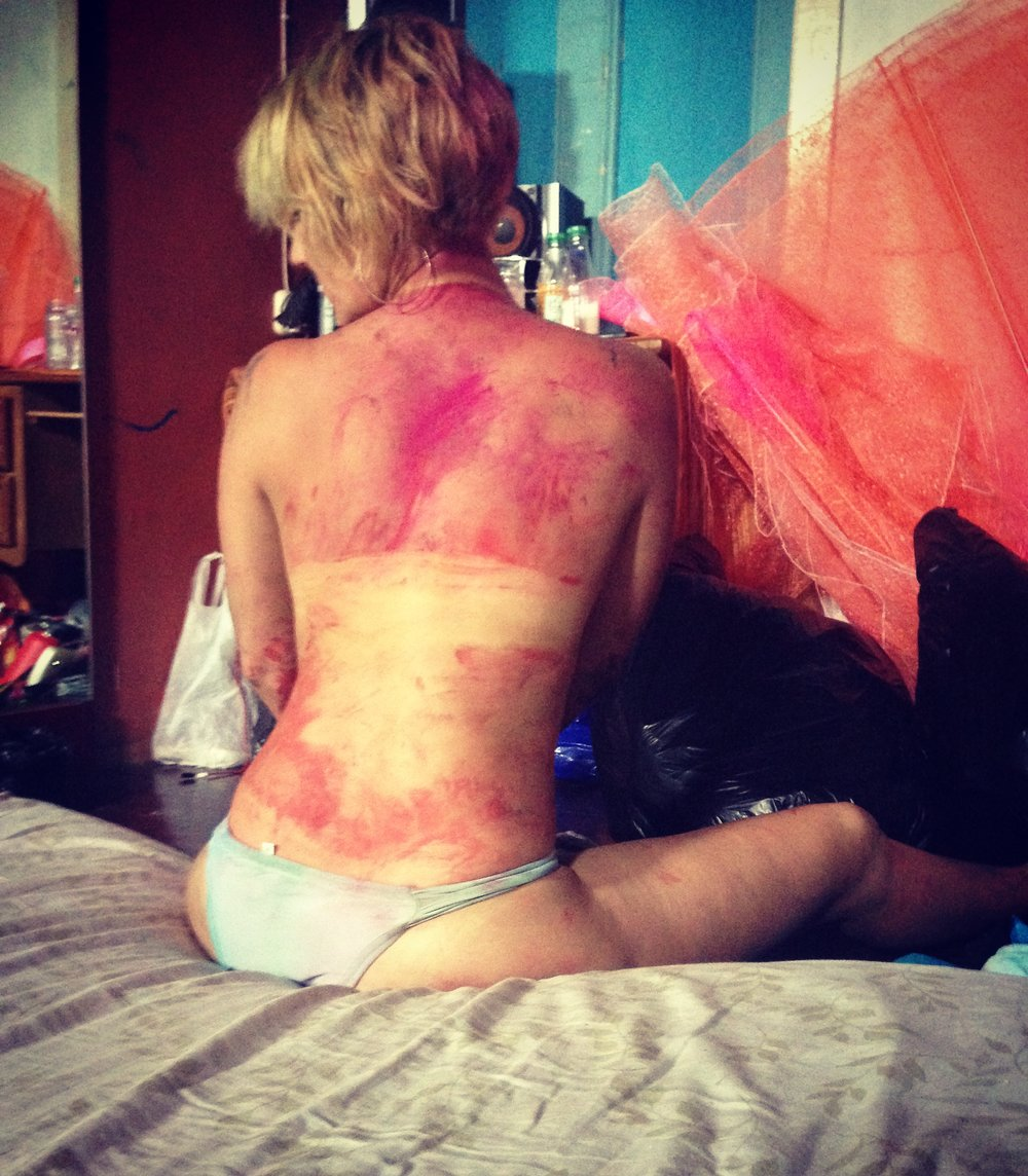 After Jouvert I matched our costumes quite well!  Don't worry it's paint not bruising!