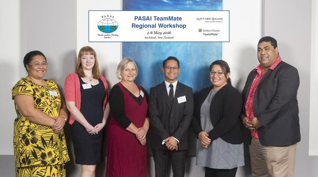 (L to R): Project team – Agnes Aruwafu PASAI Director Technical Support, Alison McDougall Audit NZ Manager Methodology, Ann Kilpatrick Audit NZ Information Manager, Vance Hetariki TeamMate Australasia Business Development Manager, Aolele Sua-Aloese PASAI Director Advocacy, Engagement and Financing, Tiofilusi Tiueti PASAI Chief Executive.