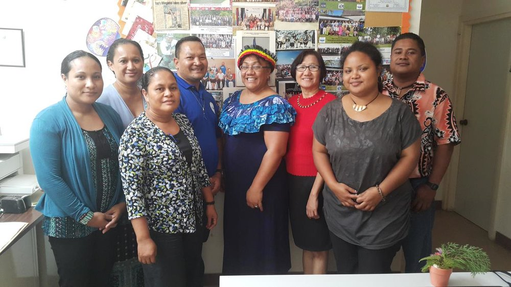 Strategic Planning for Public Auditors in Yap - Public Auditor, Mr Achilles Defngin (3 rd left back row) and staff from the Office of the Public Auditor with Ms Palamo-Iosefo (3 rd right back row)