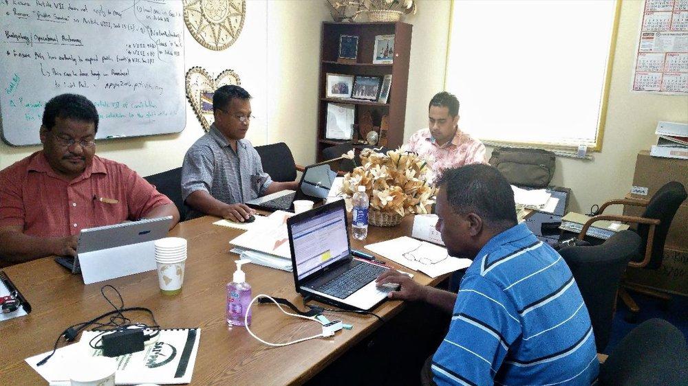 Assessment team in action: (l to r): Haser Hainrick, Kelly Samuel, Kelepi Makakaufaki Jr, Keller Philip