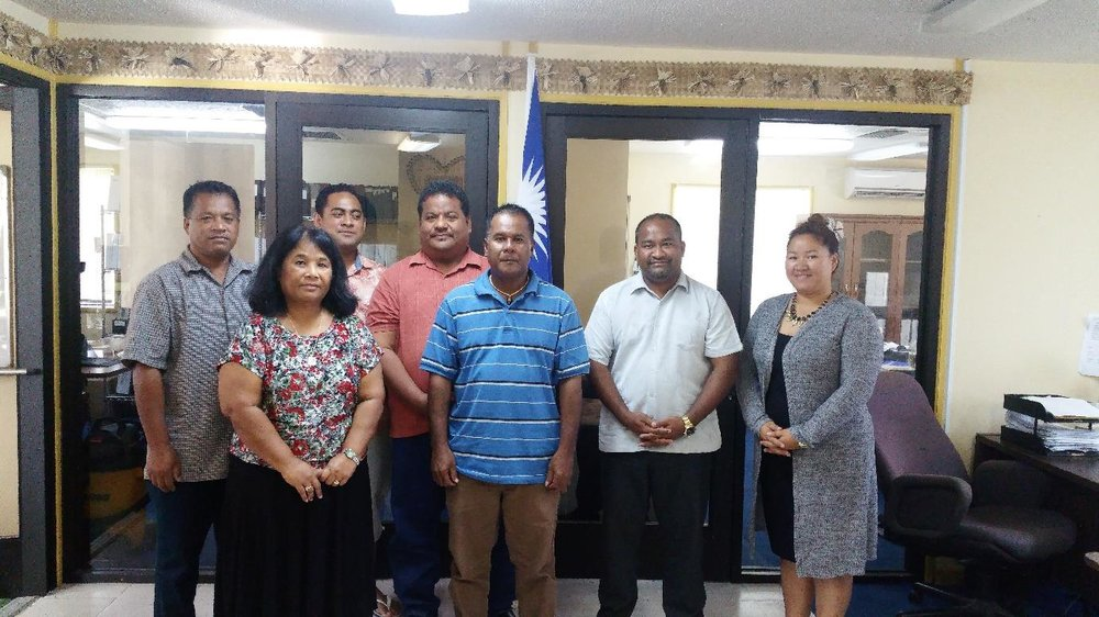 Assessment team with Auditor-General, Junior Patrick (second from right) and RMI OAG staff, Atmita Jonathan (front left) and Ayako Yamaguchi-Eliou (right)