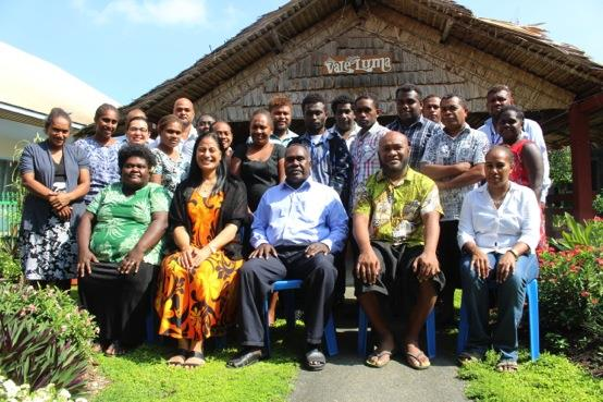 Photo: The staff of Solomon Islands Office of the Auditor-General who participated in the communications workshop.  Auditor-General, Mr Peter Lokay is seated in the middle of the front row.