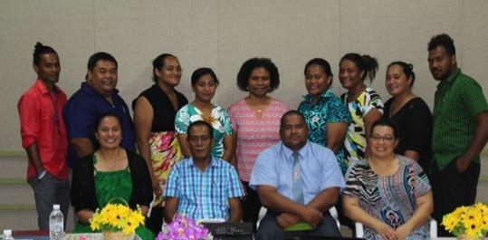 Photo above: Participants of the Tuvalu Communications workshop with Auditor-General Eli Lopati (front row, second from the left) and guest speaker, Reverend Ken (front row, second from the right).
