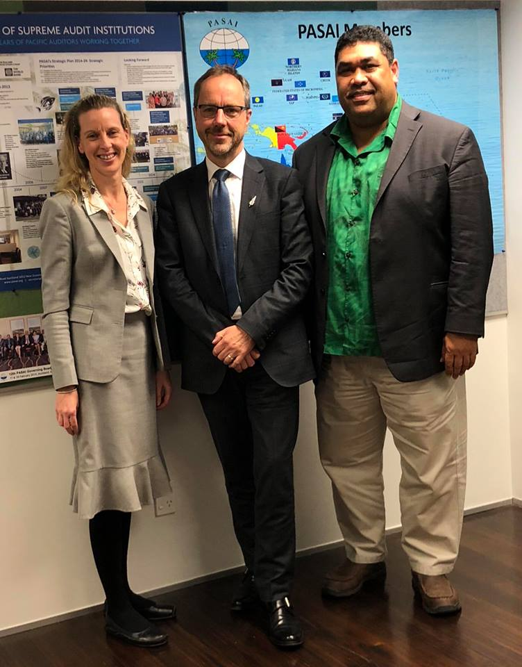 John with Deputy Secretary-General, Sarah Markley, and PASAI Chief Exec, Tiofilusi Tiueti