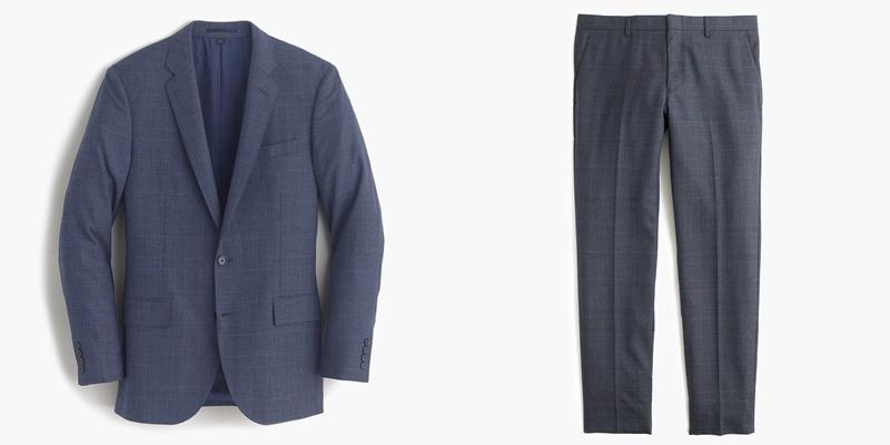 Ludlow suit jacket in glen plaid American wool.