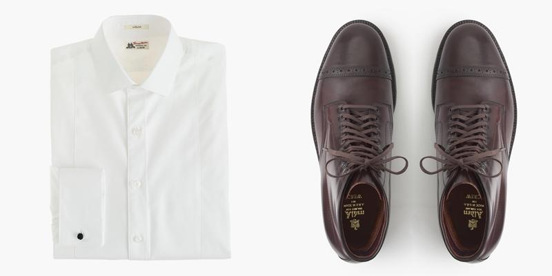 Thomas Mason Tuxedo Shirt; Alden cap-toe cordovan boots.