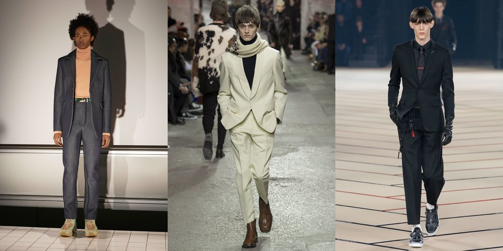 From left to right: Acne Studios, Dries Van Noten and Dior Homme.