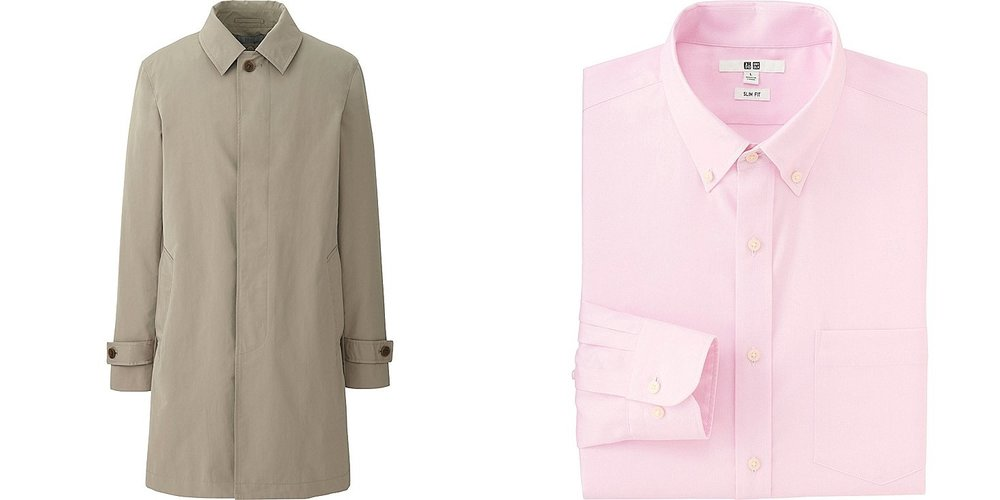 From left to right: Convertible collar coat and  slim fit oxford shirt .