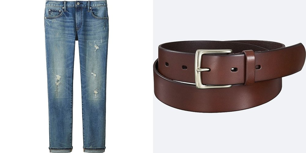 From left to right:  Slim fit distressed jeans  &  Italian oiled belt .