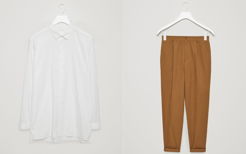 From left to right: Long cotton twill shirt & Relaxed chino trousers.