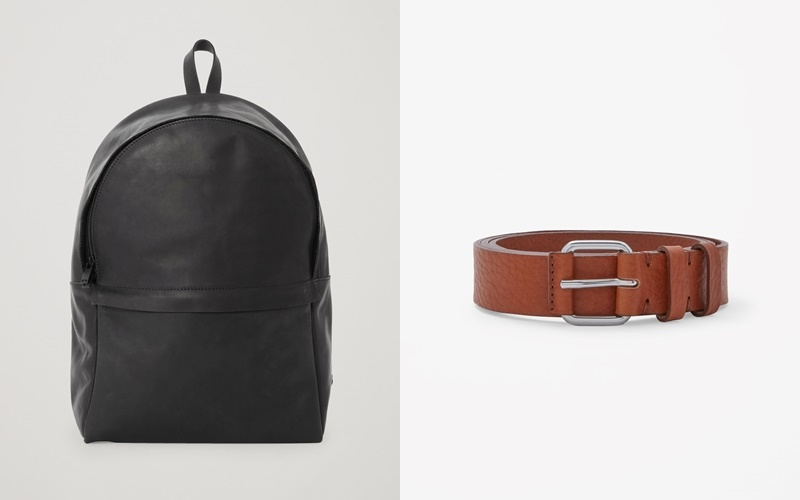 From left to right: Rounded leather backpack & Grained leather belt.