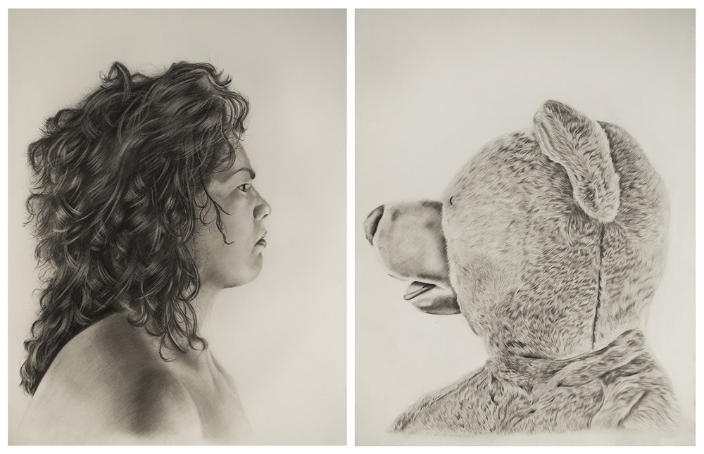 Princess Ileana vs. Lester the Molester , 2016, diptych, 30 x 22 inches each, Graphite on paper.