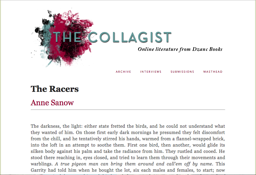 """The Racers,"" recent fiction published in The Collagist issue 96, April 2018"