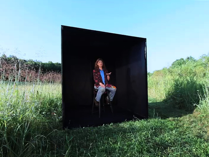 In the Black Box (Looking Out) is a 2-channel video juxtaposing theater with social work to explore secondary trauma caused from inhabiting another person's experience.