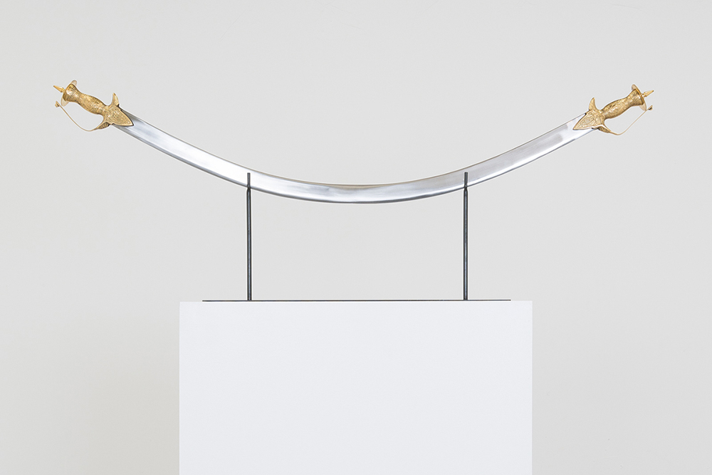 """Miami-Dutch, """"A Peace Conference in the Desert"""" (2017), welded swords, 47"""" x 17"""" x 5"""""""