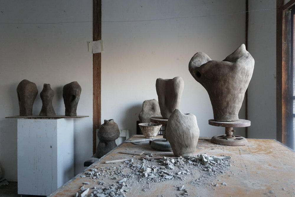 Studio while working in residency at Shiro Oni in Onishi, Japan. The image shows work installed for the closing show, A Darker Body.