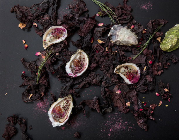 Tessa Liebman_Oysters with Dulse and Rosepetals, after MAINE by MCMC Fragrances_photographer Caroll Taveras_2018_this was a collaboration with photographer Caroll Taveras. I art directed and styled the photo which is an abstract plating of a dish that was created for a dinner with the perfumer Anne McClain of MCMC Fragrances and is based on her scent MAINE. Tessa Liebman_2018_Photo is by Caroll Taveras and art directed/styled by Tessa Liebman_the photo is a fantasy plating scheme for a dish based on a fragrance created by Anne McClain of MCMC Perfumes called MAINE. The fragrance was inspired by falling in love with her (now) husband on a beach in Maine and contains notes of beach rose, pine, briny air and beach plum which I mimicked with ingredients such as umeboshi, dulse and other sea plants, pine essential oil and rose petals.