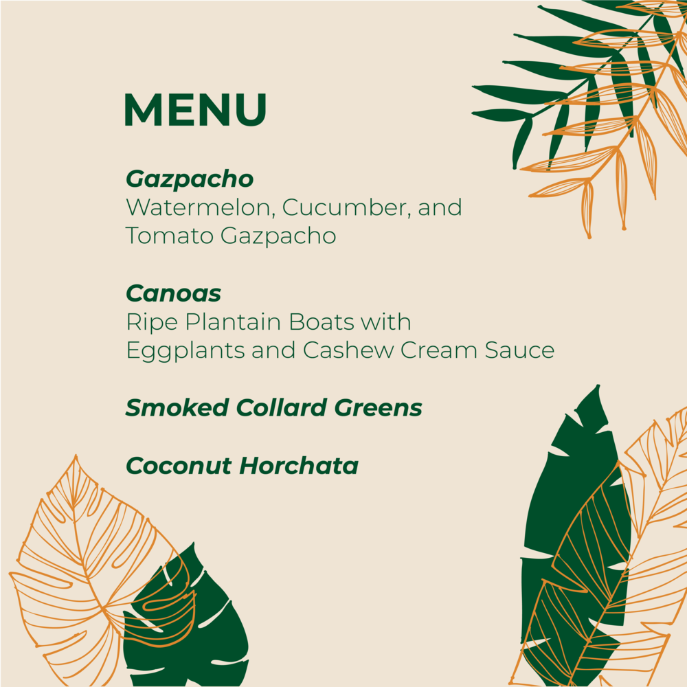Menu from a summer Plant-Based Cooking Class