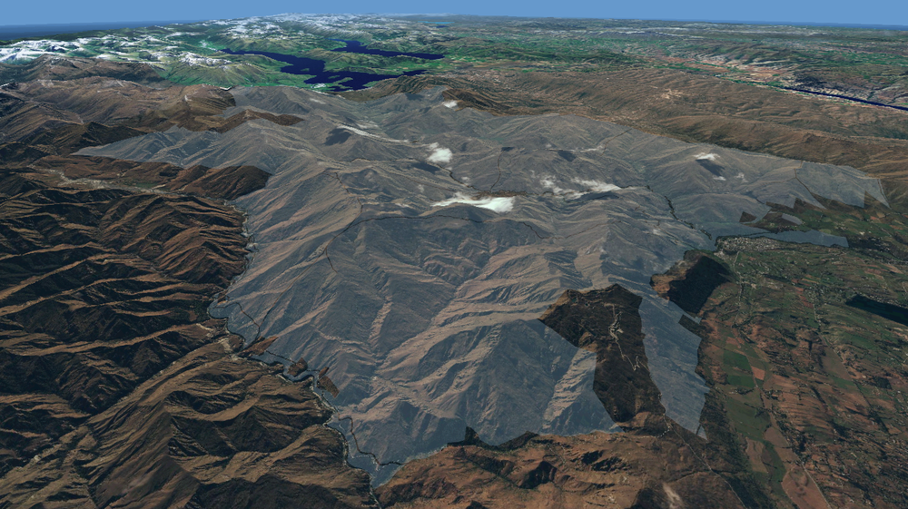 Situation of Mahu Whenua (shaded) looking North towards Lake Wanaka (left top) and Lake Hawea (right top).     Quickbird image (Kiwimage, includes copyrighted material of DigitalGlobe, Inc, All rights Reserved) draped onto a 15-m resolution DEM. Courtesy of Pascal Sirguey, School of Surveying