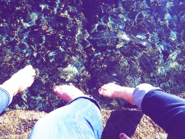 My sisters and I dipping our feet in the water. (c) Arianna's Random Thoughts