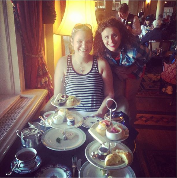 Jackie and I having high tea. Photo Credit: Jacqueline Boone.