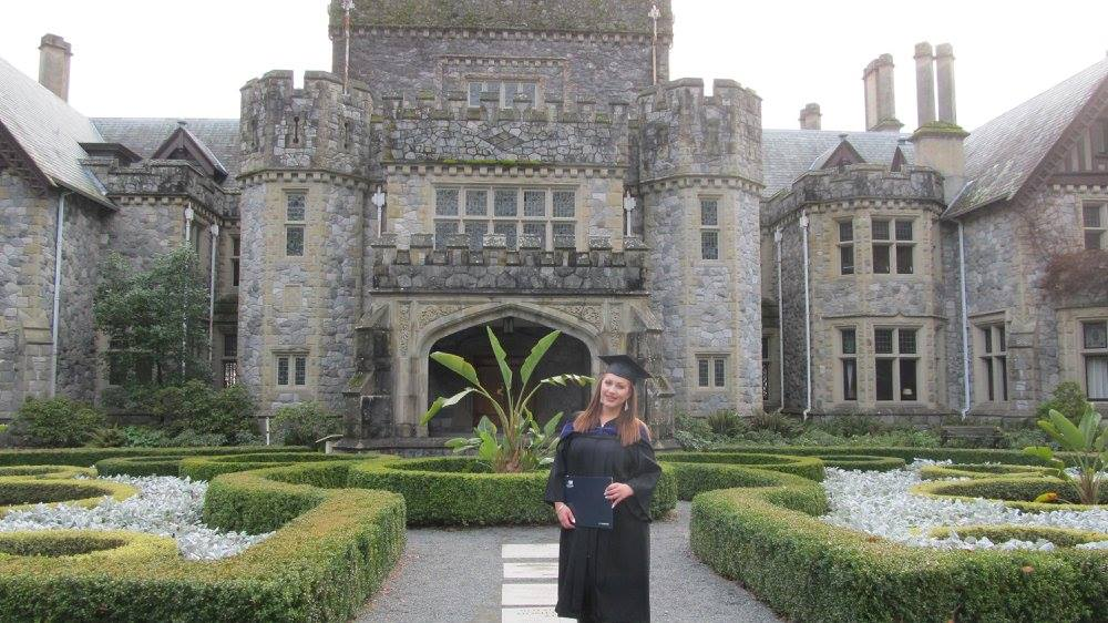 Alexandra at her graduation from Royal Roads University.