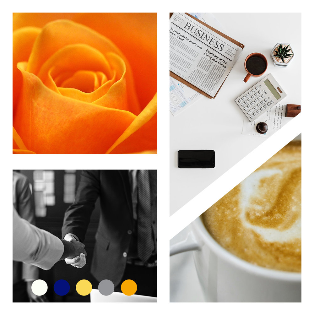 Moodboard - These images are used as a guideline for your brand messaging and voice. It's a visual depiction of the mood of your brand. You can use up to 6 color swatches for your own brand colors.