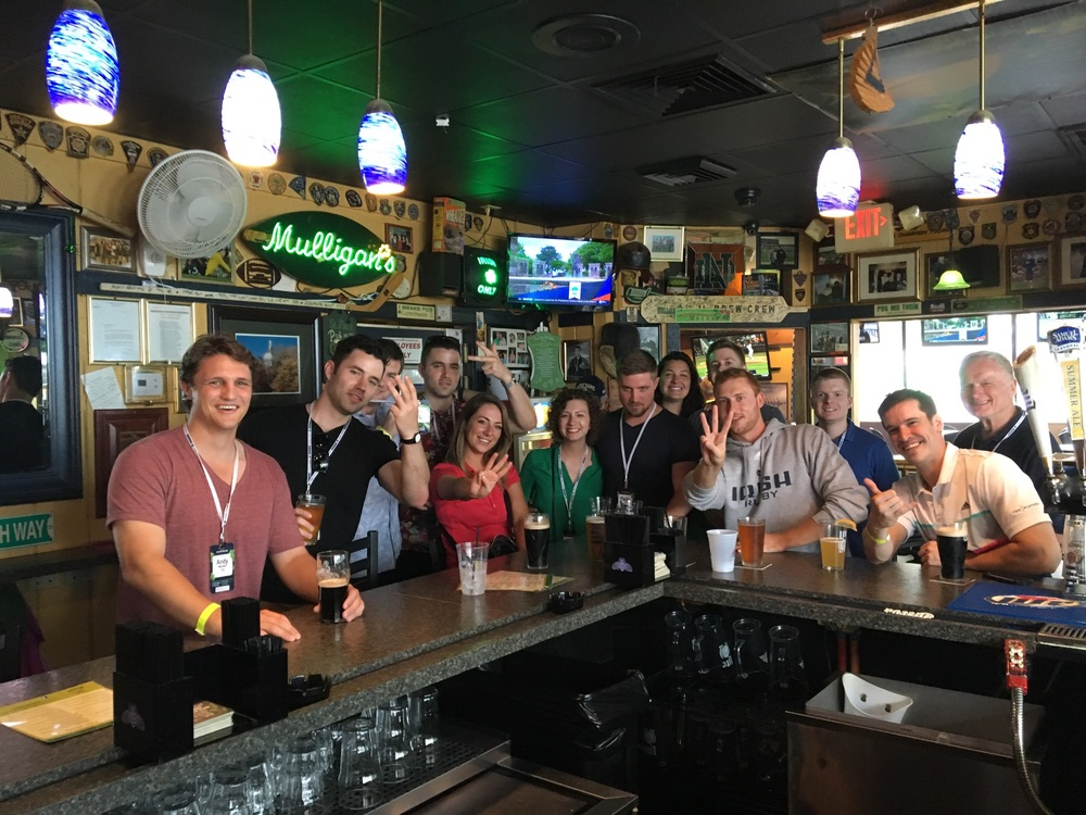 "NDRFC alumni taking a break from reunion festivities for the traditional pilgrimage to Mulligan's to cheer on the ND Sevens team. (Photo credit: Sean ""Da Truf"" Mitchell)"