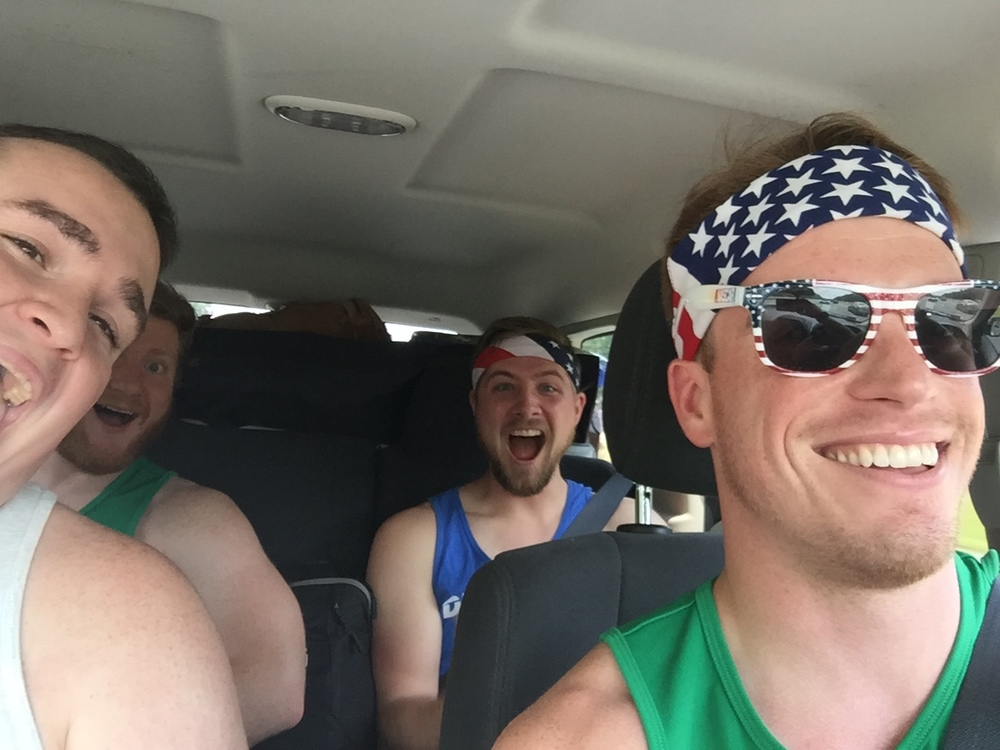 You know what I like to do? I like to tear the sleeves off my shirt, don a star-spangled bandanna, and strap in for six (make that eight) hours in the car on the way to the beach with friends.