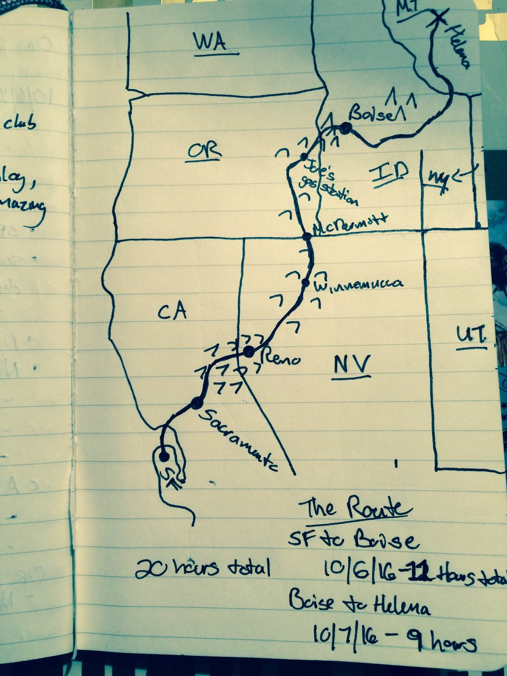 My route, drawn (inaccurately) to scale.