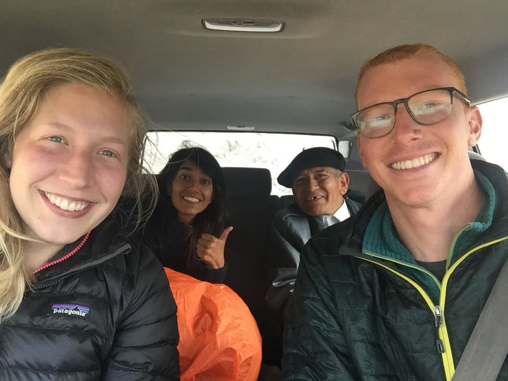 Many people don't know this, but hitchhiking is a legit form of transport in Chile. If we have room and we get a good vibe (I suppose we judge some books by their covers), we pull over and pick folks up. I think to date we've transported about 10 people, but this was our first group selfie. Representing USA, France, and Chile.