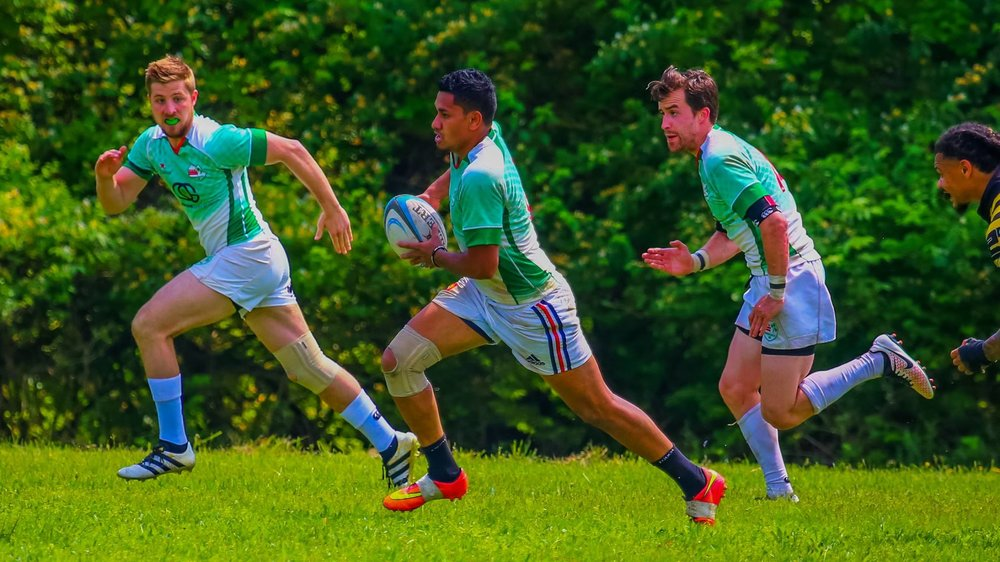 Irish fullback Richie Sefo counterattacks with Colm Quinn in support as I try to keep up with two significantly faster players against Old Gaelic. Photo credit: Michael Smith (https://www.facebook.com/GjeterhundPhotography/)