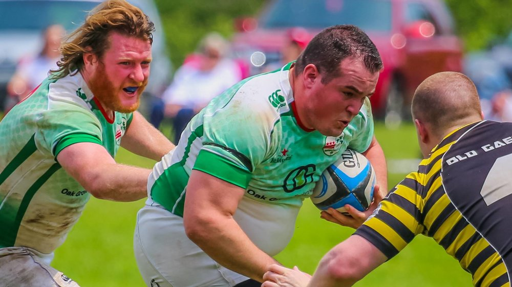 Irish Prop Joe Edwards winds up for contact with Club Captain James Bragan in close support. Photo credit: Michael Smith (https://www.facebook.com/GjeterhundPhotography/)